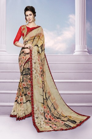 Vibrant Chiku Georgette Print with Embroidered Blouse Saree