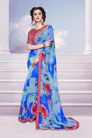 Marvelous Blue Georgette Print with Embroidered Blouse Saree