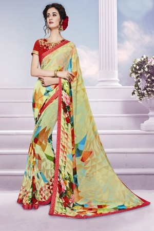 Pleasant Multicolor Georgette Print with Embroidered Blouse Saree