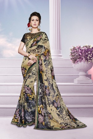 Rust Multicolor Georgette Print with Embroidered Blouse Saree