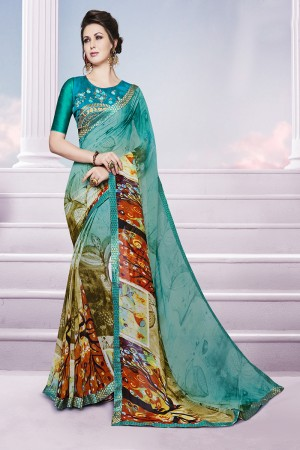 Stylish Multicolor Georgette Print with Embroidered Blouse Saree