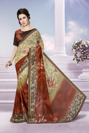 Peppy Multicolor Georgette Print with Embroidered Blouse Saree