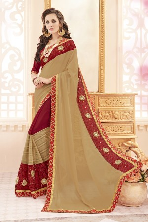 Graceful Chiku Georgette Heavy Embroidery Panel Work  Saree