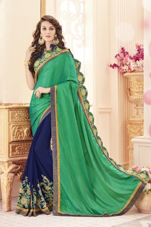 Bewitching Green Papersilk Heavy Embroidery Panel Work  Saree