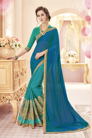 Refreshing Blue Georgette Heavy Embroidery Panel Work  Saree
