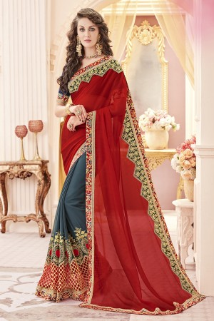 Modish Red Chiffon Heavy Embroidery Panel Work  Saree