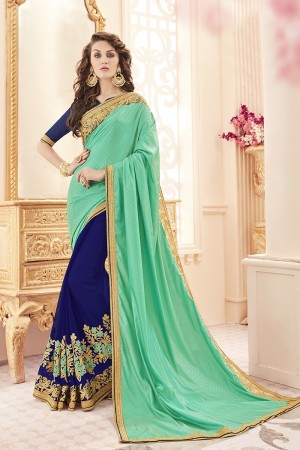 Royal Green Papersilk Heavy Embroidery Panel Work  Saree