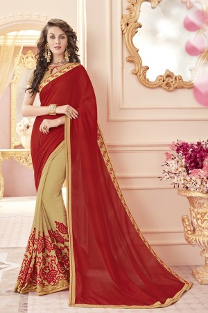 Bedazzling Red Georgette Heavy Embroidery Panel Work  Saree