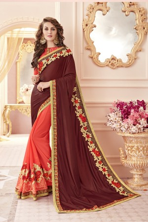 Gorgeous Maroon Papersilk Heavy Embroidery Panel Work  Saree