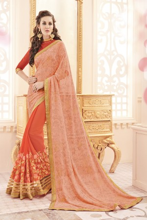Splendiferous Orange Georgette Heavy Embroidery Panel Work  Saree