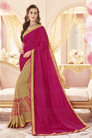 Voguish Pink Papersilk Heavy Embroidery Panel Work  Saree
