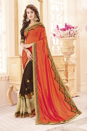 Attractive Orange Papersilk Heavy Embroidery Panel Work  Saree