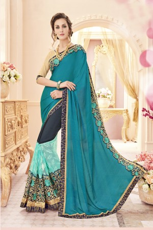Graceful Blue Papersilk Heavy Embroidery Panel Work  Saree