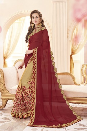 Fabulous Maroon Georgette Heavy Embroidery Panel Work  Saree