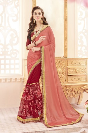 Enthralling Peach Georgette Heavy Embroidery Panel Work  Saree