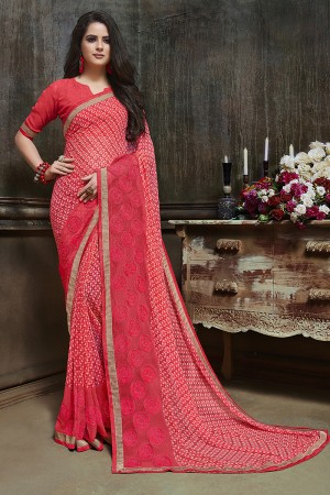 Glamorous Peach Major Georgette Printed and Embroidered Saree