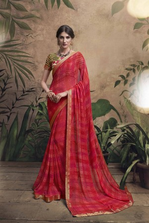 Beauteous Maroon Major Georgette Print With Lace Border Saree