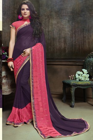 Charming Purple Major Georgette Printed and Embroidered Saree