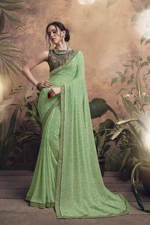 Breezy Olive Major Georgette Print With Lace Border Saree