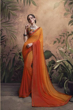 Charming Orange Major Georgette Print With Lace Border Saree