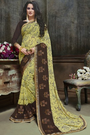 Dazzling Yellow Major Georgette Printed and Embroidered Saree
