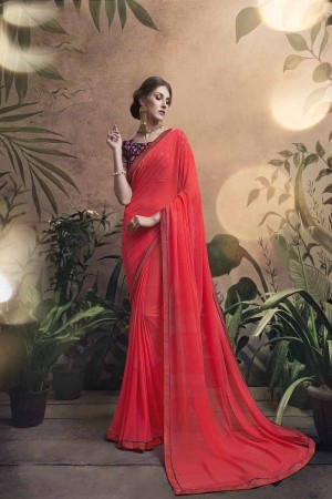 Awesome Peach Major Georgette Print With Lace Border Saree