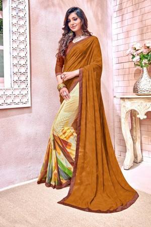 Stupendous Brown Major Georgette Print With Lace Border Saree