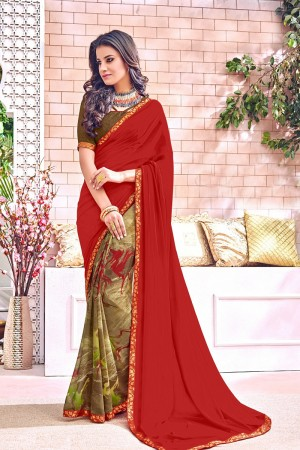 Charismatic Maroon Major Georgette Print With Lace Border Saree