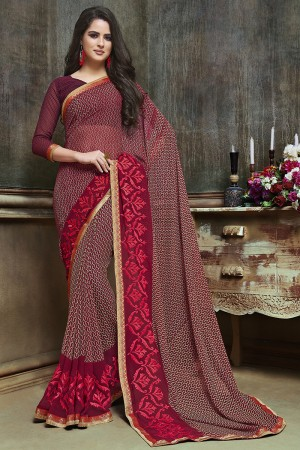 Exuberant Maroon Major Georgette Printed and Embroidered Saree