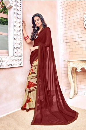 Graceful Maroon Major Georgette Print With Lace Border Saree