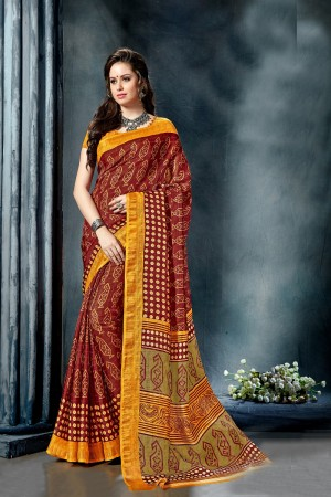 Breezy Maroon Fancy Cotton Print With Lace Border Saree