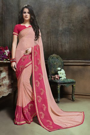 Awesome Cream Major Georgette Printed and Embroidered Saree
