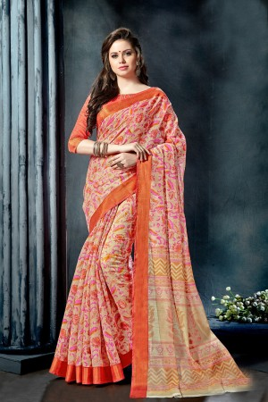 Charming Cream Fancy Cotton Print With Lace Border Saree