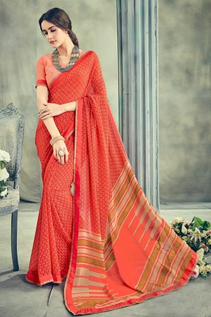 Exquisite Orange Major Georgette Print With Lace Border Saree