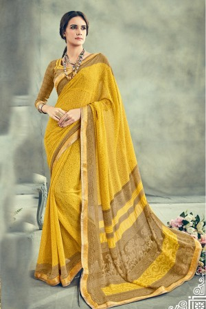Contemporary Yellow Major Georgette Print With Lace Border Saree