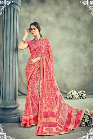 Brilliant Pink Major Georgette Print With Lace Border Saree