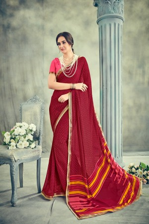 Creative Maroon Major Georgette Print With Lace Border Saree
