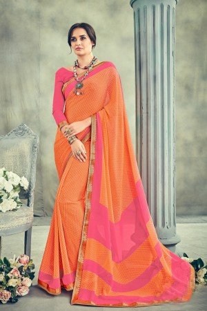 Enticing Orange Major Georgette Print With Lace Border Saree