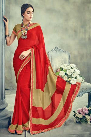 Mesmerising Red Major Georgette Print With Lace Border Saree