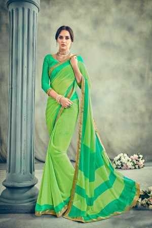Ethereal Green Major Georgette Print With Lace Border Saree