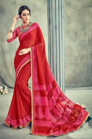 Auspicious Maroon Major Georgette Print With Lace Border Saree