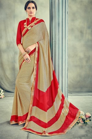 Amazing Brown Major Georgette Print With Lace Border Saree