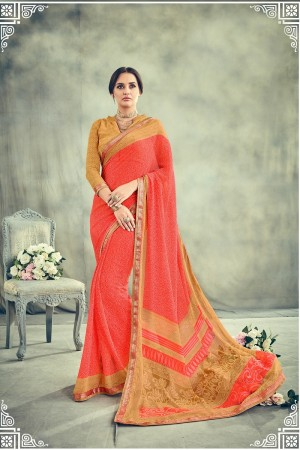 Appealing Peach Major Georgette Print With Lace Border Saree