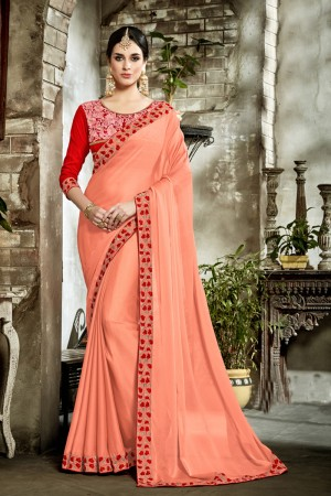 Pleasant Pink Fancy Fabric Embroidered  Blouse Saree