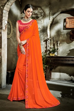 Impressive Orange Fancy Fabric Embroidered  Blouse Saree