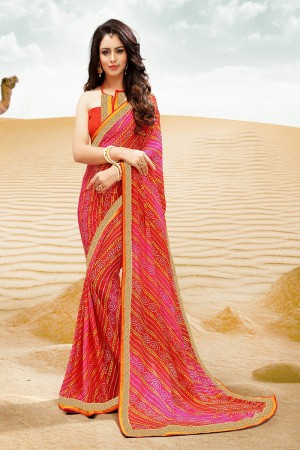 Fab Orange Major Georgette Print With Lace Border Saree