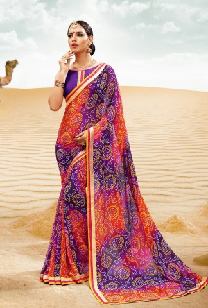 Graceful Purple Major Georgette Print With Lace Border Saree