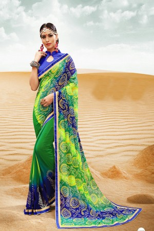 Bewitching Green Major Georgette Print With Lace Border Saree