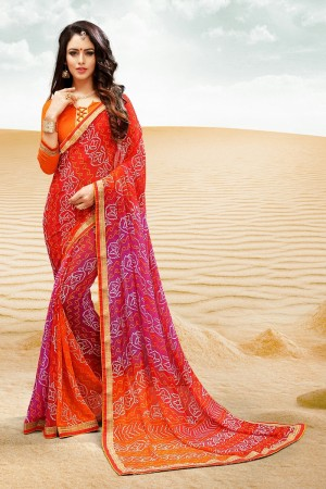 Beautiful Pink Major Georgette Print With Lace Border Saree
