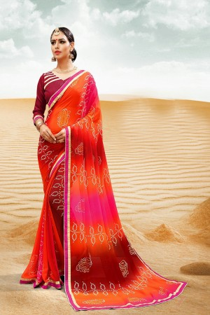 Refreshing Orange Major Georgette Print With Lace Border Saree